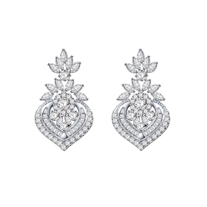 Marquise CZ Floral Dangle Earrings