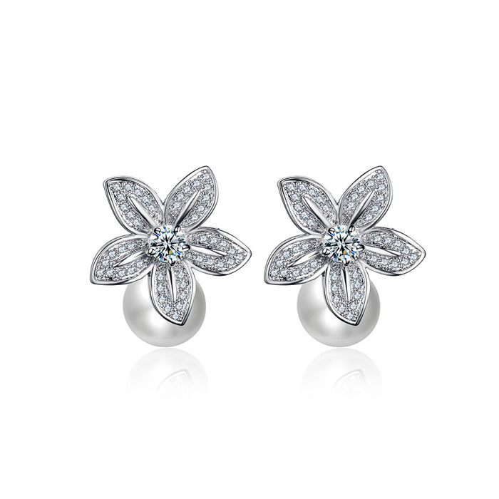 Flower Pearl Stud Earrings