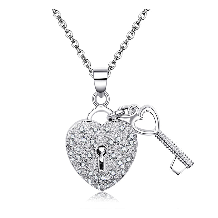Heart Locket and Key Pendant Necklace