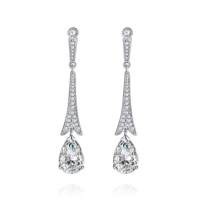Long Teardrop Earrings for Wedding