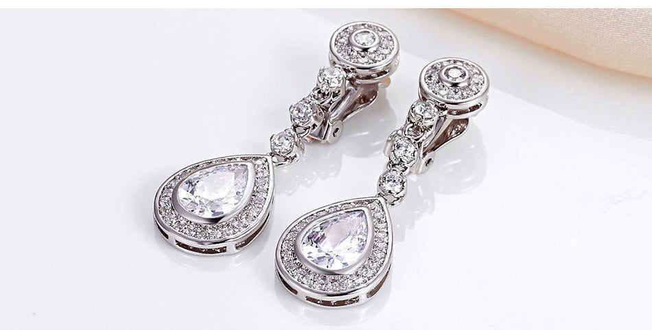 Teardrop Cubic Zircon Clip On Earrings