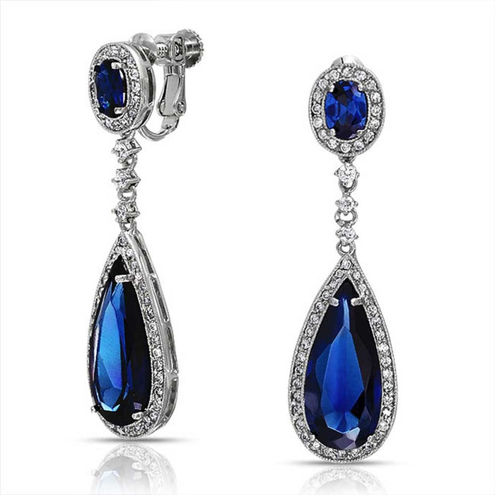 Blue Sapphire Teardrop Chandelier Clip On Earrings