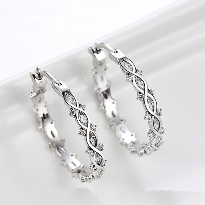 Marquise CZ Hoop Earrings for Women