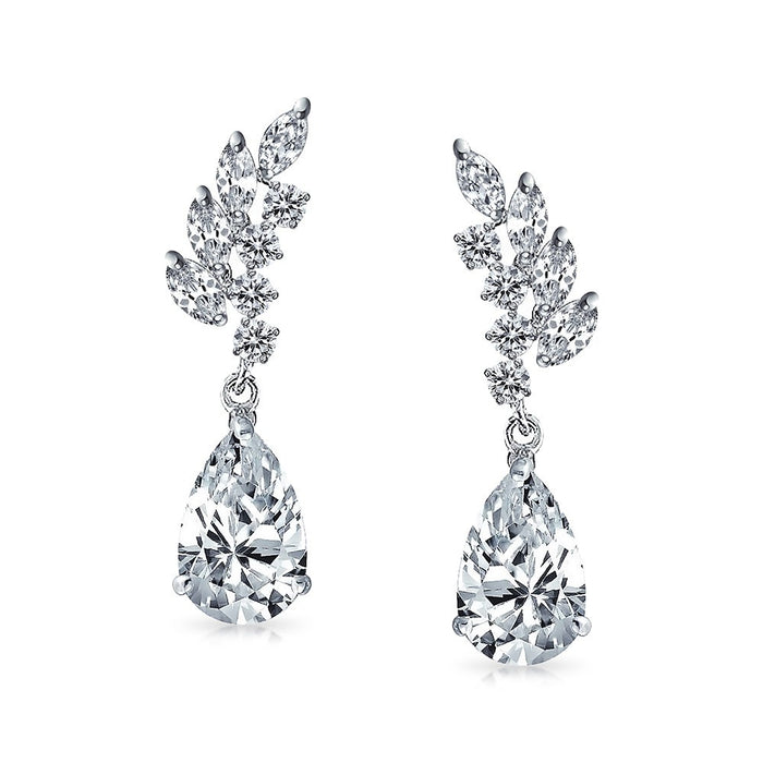 Leaf Teadrop CZ Drop Earrings