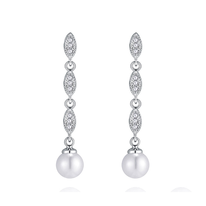 Long Classic Pearl Chandelier Earrings