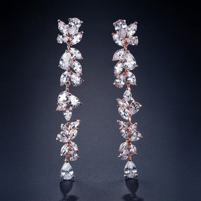 Long Floral Dangle Earrings for Women