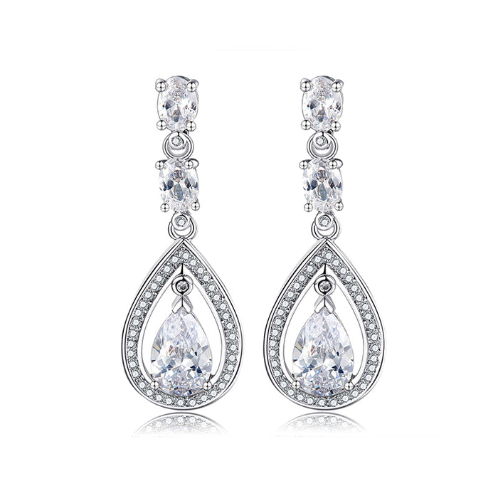 Oval and Teardrop Chandelier Earrings