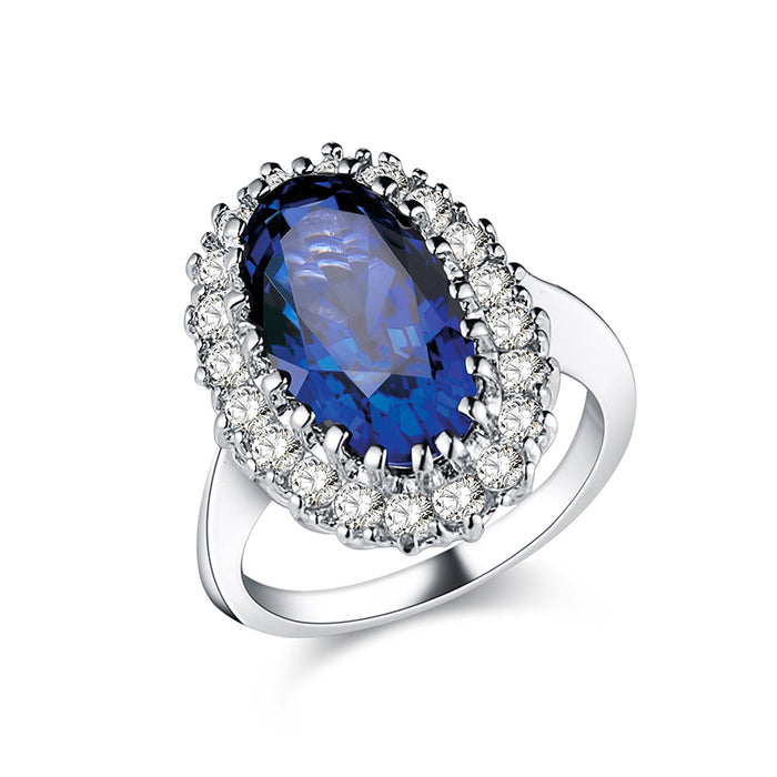 Oval Sapphire Crown Ring