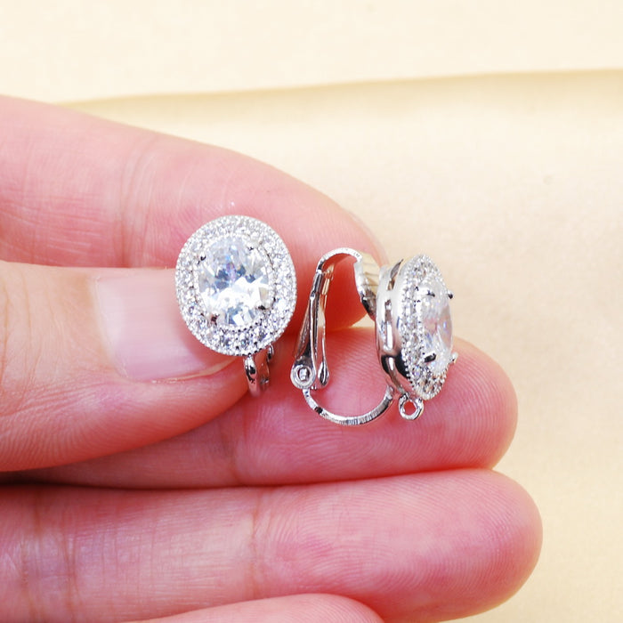 Oval CZ Clip On Components for Earrings (6pcs/pack)