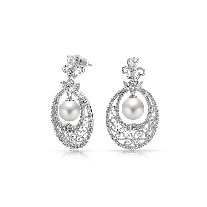 Oval Pearl Dangle Earrings
