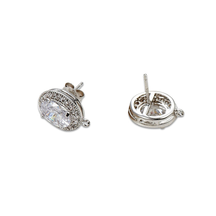 Oval CZ Pierced Components for Earrings (6pcs/pack)