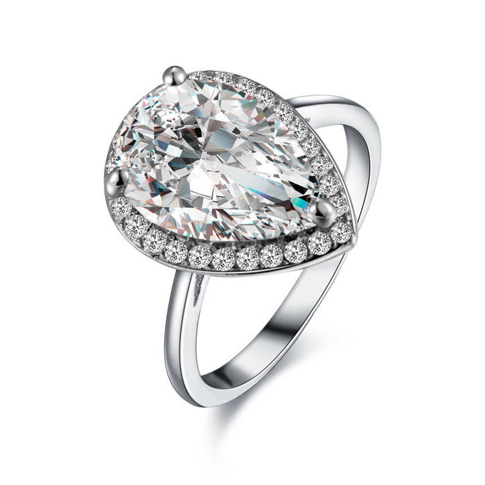 Pear CZ Engagement Ring