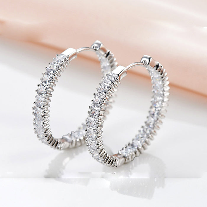Princess Squre CZ Hoop Earrings for Wedding