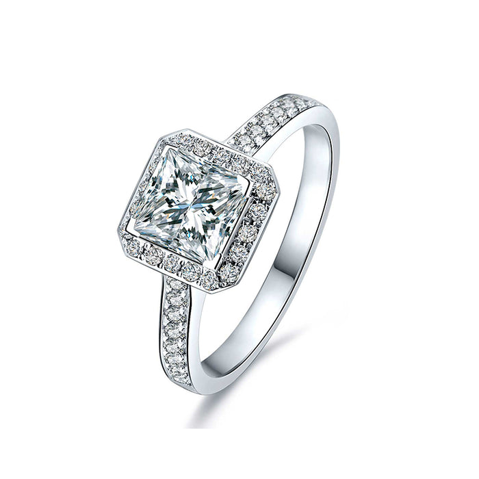 Princess Square CZ Engagement Ring