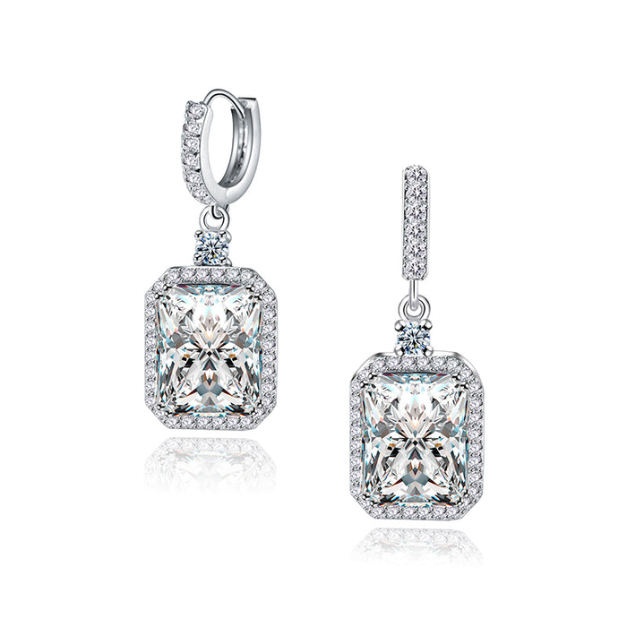 Princess Square Cubic Zircon Drop Earrings