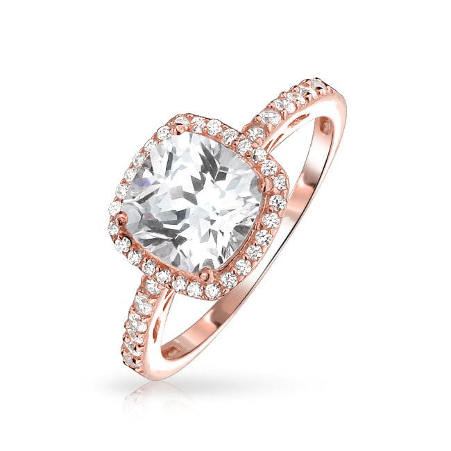 Rose Gold Cushion Bright Ring