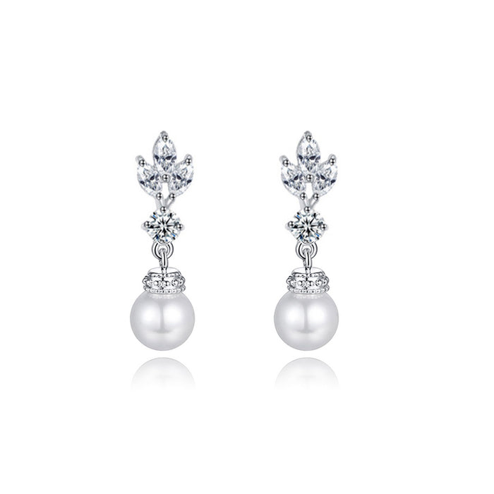 Marquise CZ Pearl Dangle Earrings