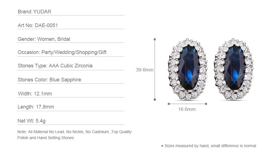 Royal Sapphire Oval Stud Earrings for Wedding