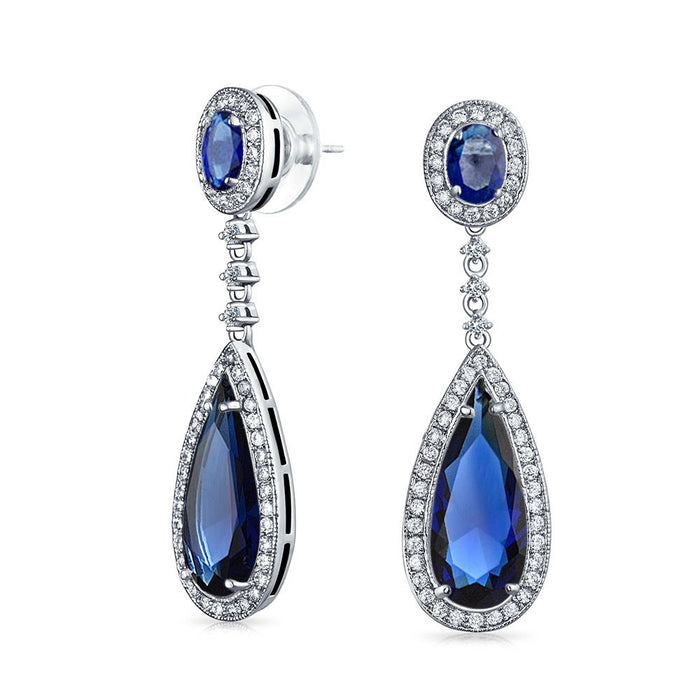 Blue Sapphire Teardrop Chandelier Earrings