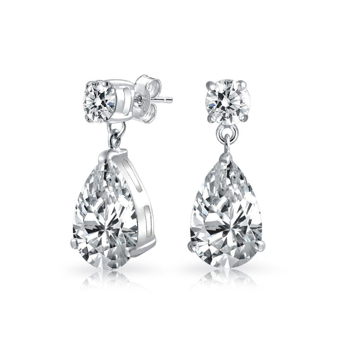 Round and Teadrop CZ Dangle Earrings