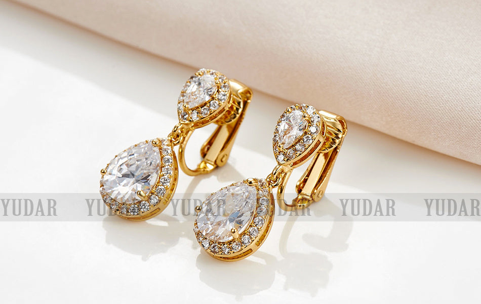 Double Teardrop Cubic Zircon Clip On Earrings