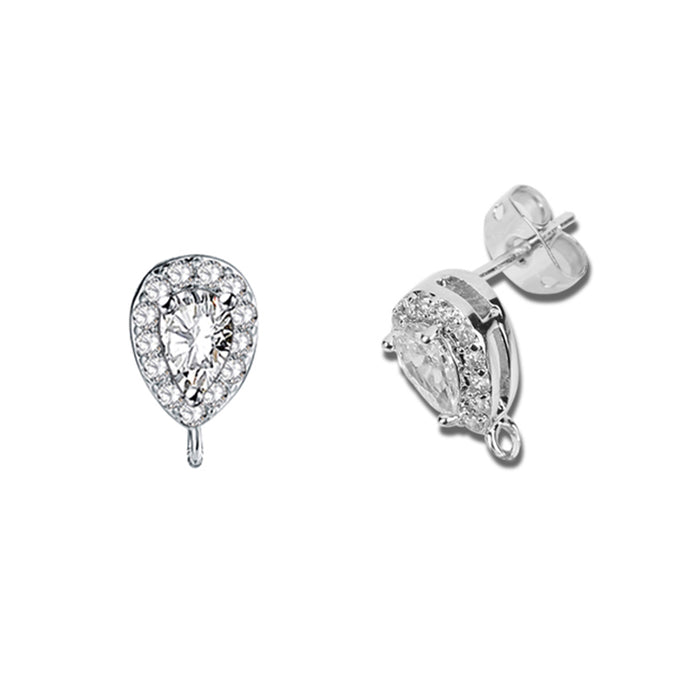 Teardrop CZ Pierced Components for Earrings (6pcs/pack)