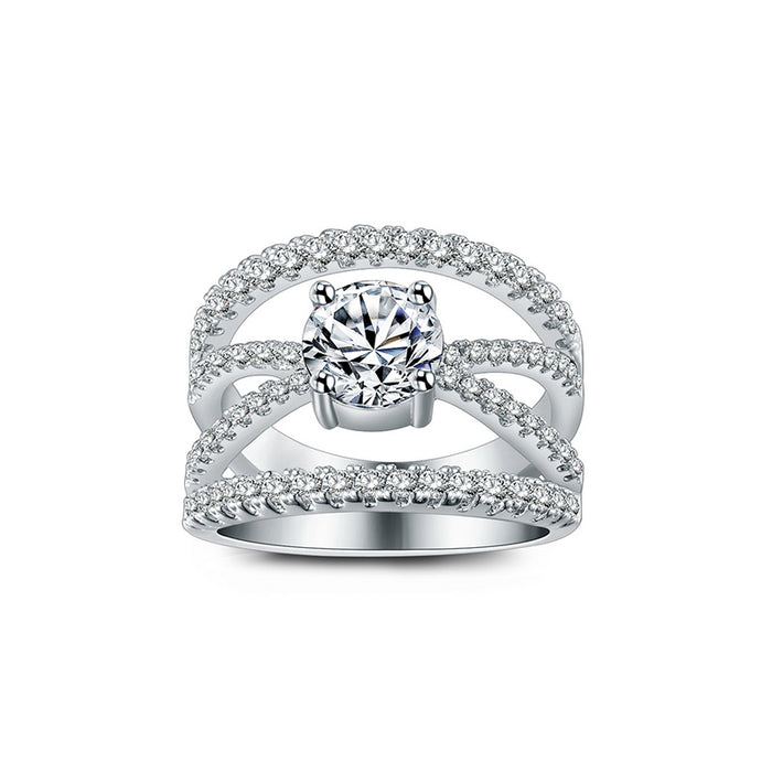 7mm CZ 4 Lines Crossover Engagement Ring