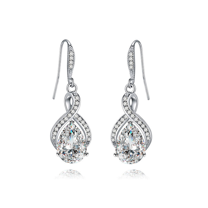 Swirl Teardrop CZ Fishhook Earrings