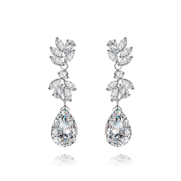 Marquise Teardrop CZ Floral Dangle Earrings