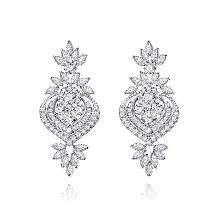 Luxury CZ Floral Wedding Earrings