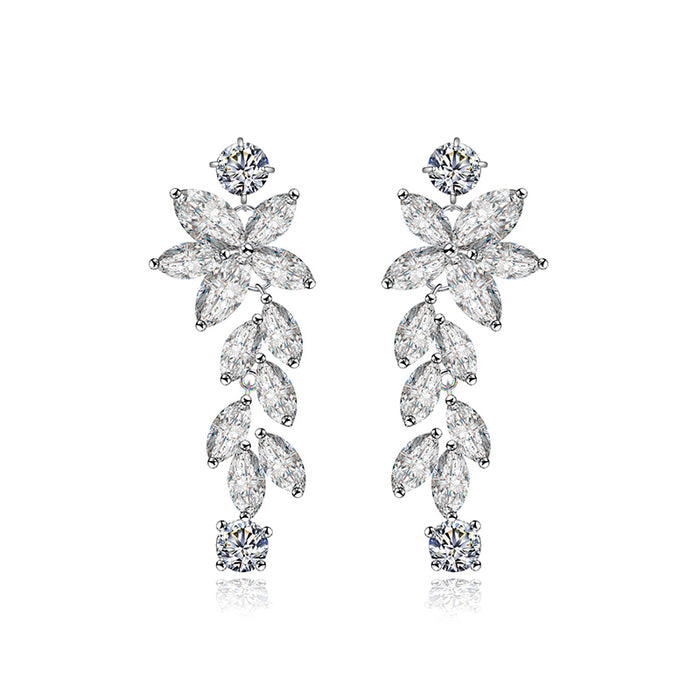 Luxury Marquise CZ Plant Flower Earrings
