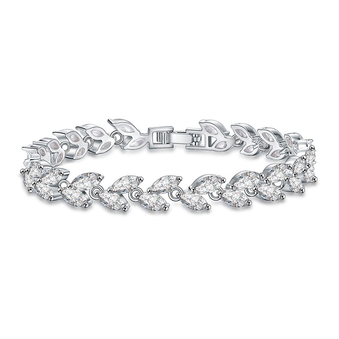 Marquise CZ Leaves Tennis Bracelet