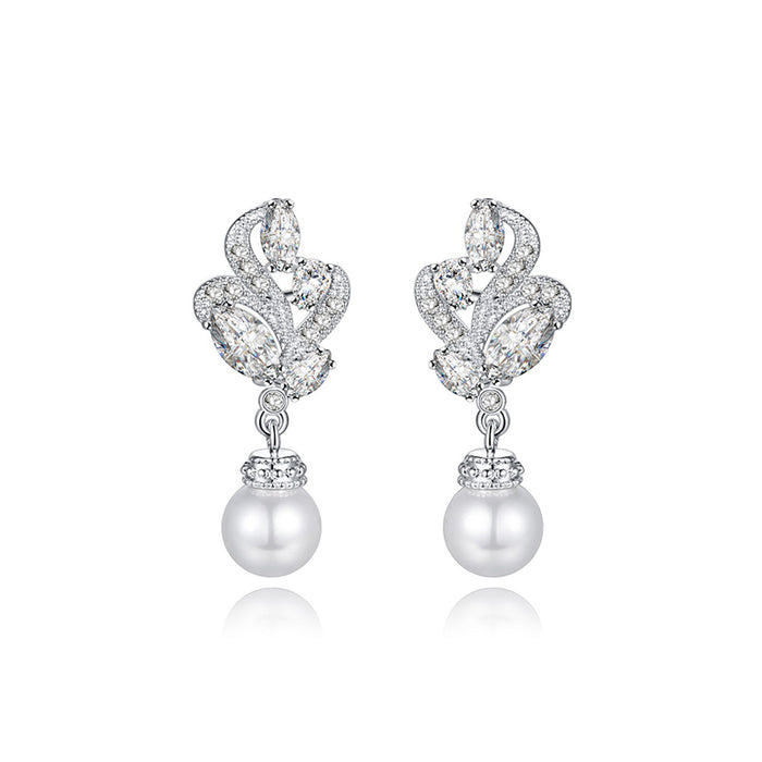 Floral Pearl Dangle Earrings for Wedding