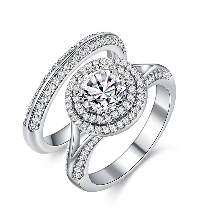 Forever Love Halo Engagement Ring Set