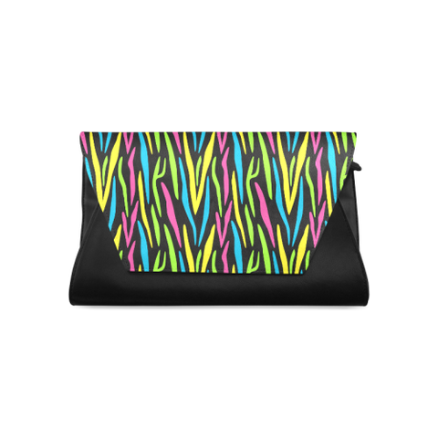 'FETE' NEON STRIPE CLUTCH