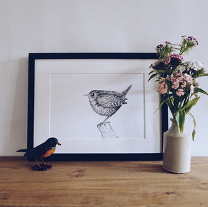 The Castleton Wren risograph print