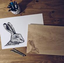Load image into Gallery viewer, The Bleaklow Hare Small  Bevelled Board