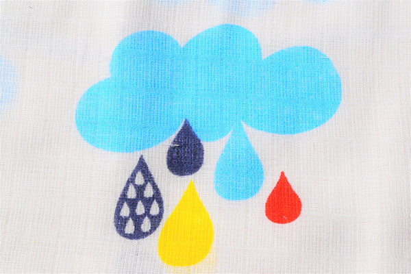 cotton fabric printed with rain clouds