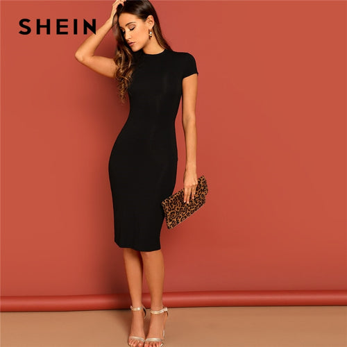 9cdab77af4 SHEIN Black Stand Collar Solid Natural Waist Stretchy Bodycon Dress Women  Summer Elegant Short Sleeve Slim