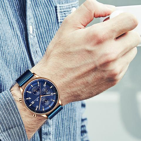What kind of watch does the man wear-watch suitable for men