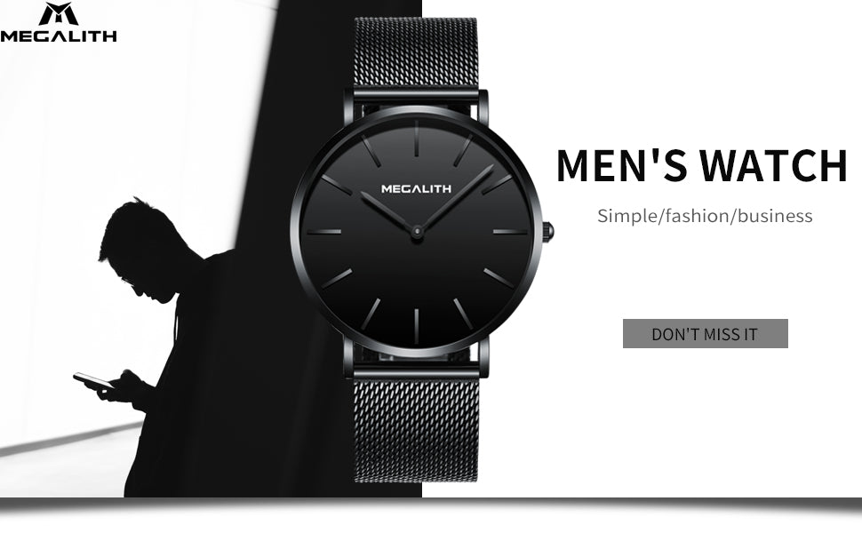 Megalith 8010M Fashion Mesh Black Watch with for Men - New Wrist Watch Release