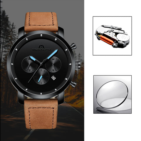Megalith 8021M Fashion Leather Classic Quality Watch with for Men - New Wrist Watch Release