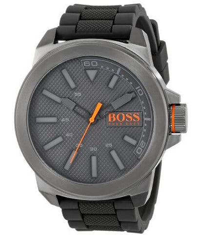 BOSS Orange Men's Stainless Steel and Silicone Watch