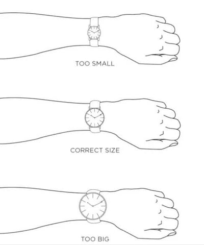 A properly sized watch should cover about 2/3 of the width of your wrist