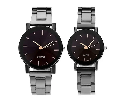 Top Plaza His and Hers Couples Watches All Black Bracelet Watch
