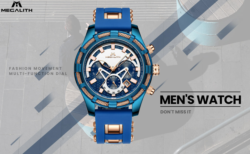 Megalith 8042M Rubber Fashion Quality Watch for Men - New Wrist Watch Release