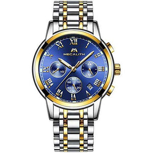 men watches with silver gold bralect&blue dail