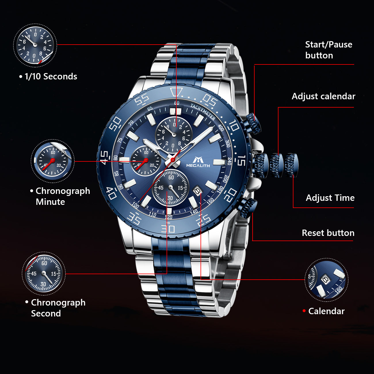 MEGALITH Mens Watches Men Chronograph Blue Large Face Designer Dress Waterproof Stainless Steel Wrist Watch Fashion Business Calendar Watches for Man-megalith watch