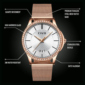 0045C | Quartz Women Watch | Mesh Band-megalith watch