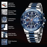 Load image into Gallery viewer, MEGALITH Mens Watches Men Chronograph Blue Large Face Designer Dress Waterproof Stainless Steel Wrist Watch Fashion Business Calendar Watches for Man-megalith watch